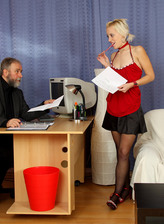 Dumb blonde secretary in lace top stockings pleases her old boss