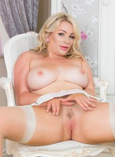 Penny Lee - British, blonde, busty, solo, layered nylon, pussy, Pantyhosed4U
