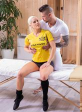 Busty Blanche Bradburry strips to her sporty socks for a butt and pussy massage