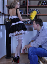 Teasing French maid in pretty white lacy stockings seduces her hung master