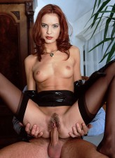 Slim redhead getting fucked for a load in her classy FF stockings and leather gloves