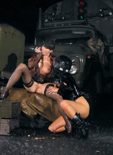 Slutty military babes wet nylons and boots smooching in the rain