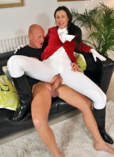 Nasty UK horsewoman Lara Latex going for a hot butt ride in tight leggings