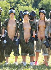 Teen sluts Heather Harris, Lovita Fate & Tiffany Tatum strip paintball overalls for an outdoor orgy