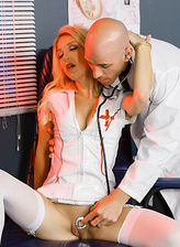 White-stockinged night shift nurse Laura Bentley gags and jumps on a boner of a hung doc
