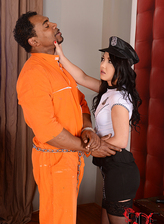 Black-stockinged lady-cop Angelik Duval gets anal creampie from a black convict
