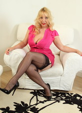 British mature blonde Lucy Gresty in black stockings