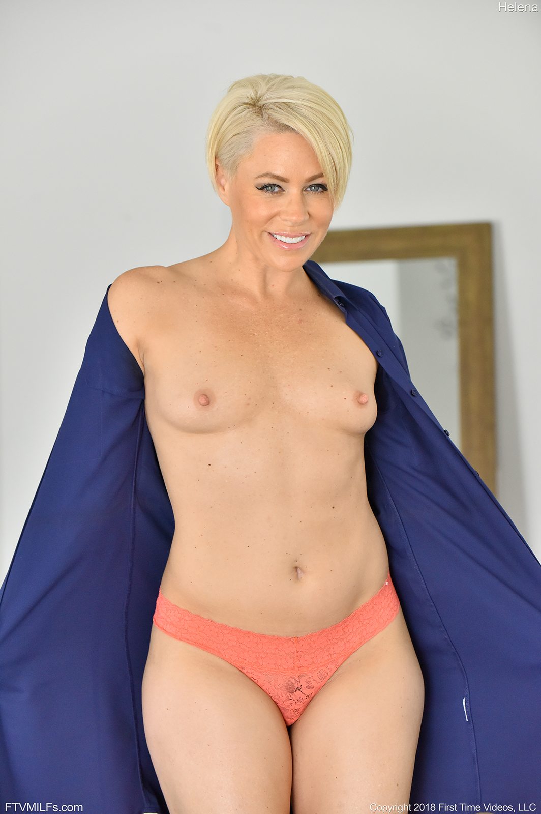 bobbed platinum blonde helena locke flashes her ripe milf