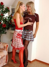 Lesbi girls getting turned on enjoying the feel of lush designer stockings