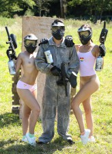 Hot teens Lady Bug and Heather Harris strip baggy paintball overalls to taste cock and pussy in FFM
