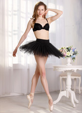 Slender ballerina Ira acts a black swan stripping her dark bra and tutu to make wide pussy splits