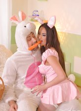 Easter Bunny Anissa Kate opens stockinged legs to get her French pussy stuffed with carrot and meat