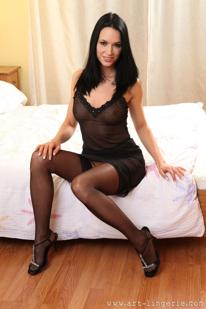 Black sexy stockings brunette