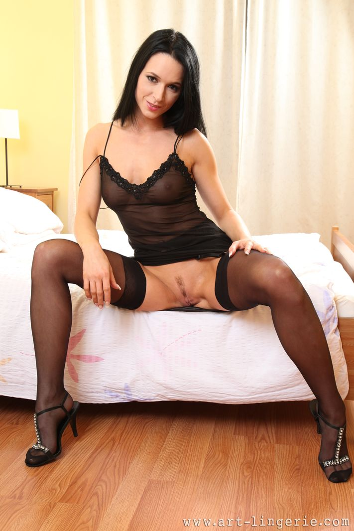 This excellent sexy legs in black nylons that can