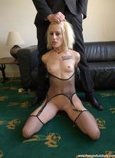 Kinky Spanish blonde Nora Barcelona puts on her fishnet bustier and stockings for a weird rough fuck