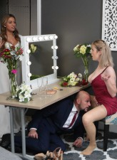 Busty bridesmaid Maxim Law rides a groom in her sexy red dress and tan stockings