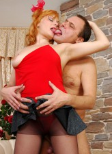 Naughty girl in red undies and black hose screwed by an old man