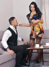 Busty Russian brunette beauty Kira Queen in gorgeous undies and nylons fucks after a cup of coffee