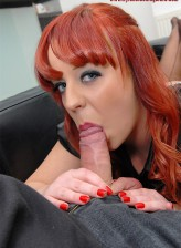 Hot-assed UK redhead Loz Lorrimar clad in black RHT stockings jumping on a cock