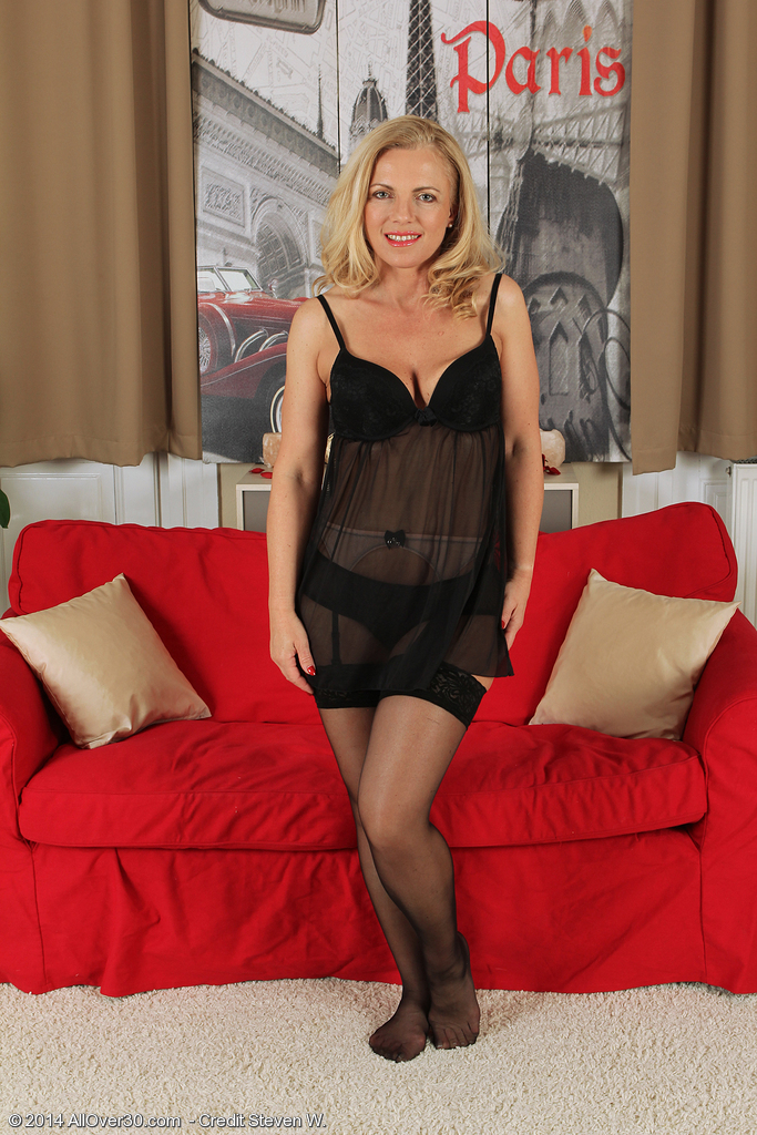 Mature blonde in her stockings #5