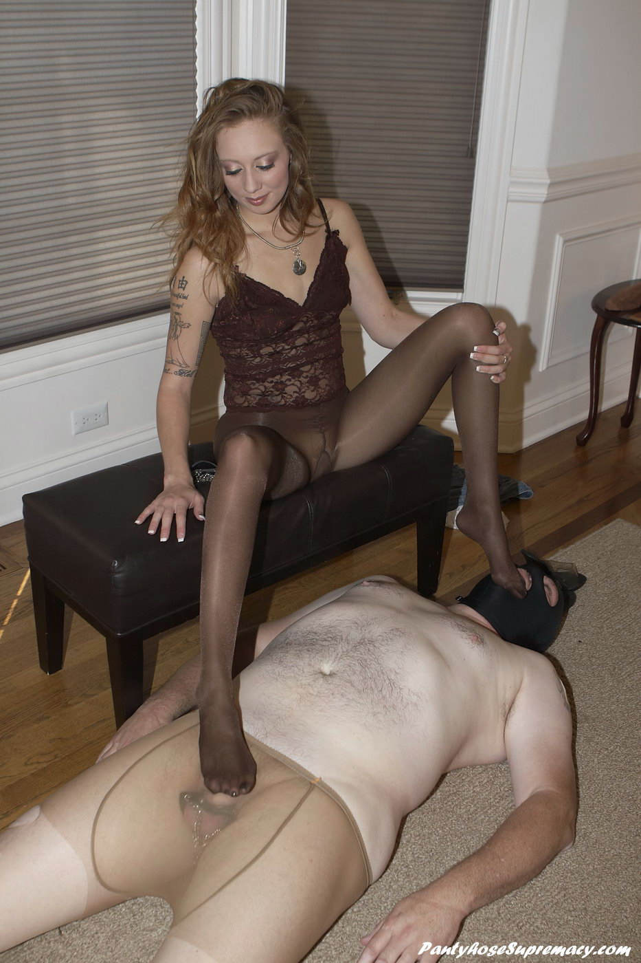 Sheer nude pantyhose on mistress