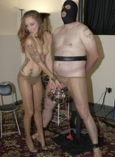 Dirty mistress gets kicks from pantyhose BDSM with her male slave