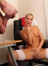 Victoria Pure reveals her white lace lingerie and stockings for a wank at work