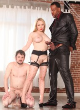 Buxom blonde Aiden Starr in dotted RHT gartered stockings going for kinky interracial cuckold action