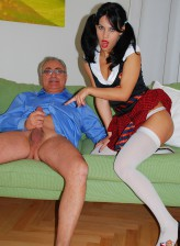 Ponytailed schoolgirl in white opaque stockings milking old cock