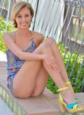 Haley Reed aka Amy parts mile-long legs in bright sandals for public dildo play