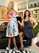 English ladies Lara Latex and Sapphire Blue eat pussies in their FF stockings and gloves