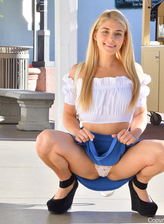 Playful minx Nikki gets to upskirt tease, peels her panties and pees in public