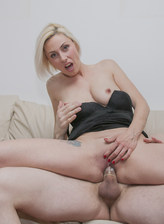 Hot blonde milf Eva Black fucking and sucking a hard cock