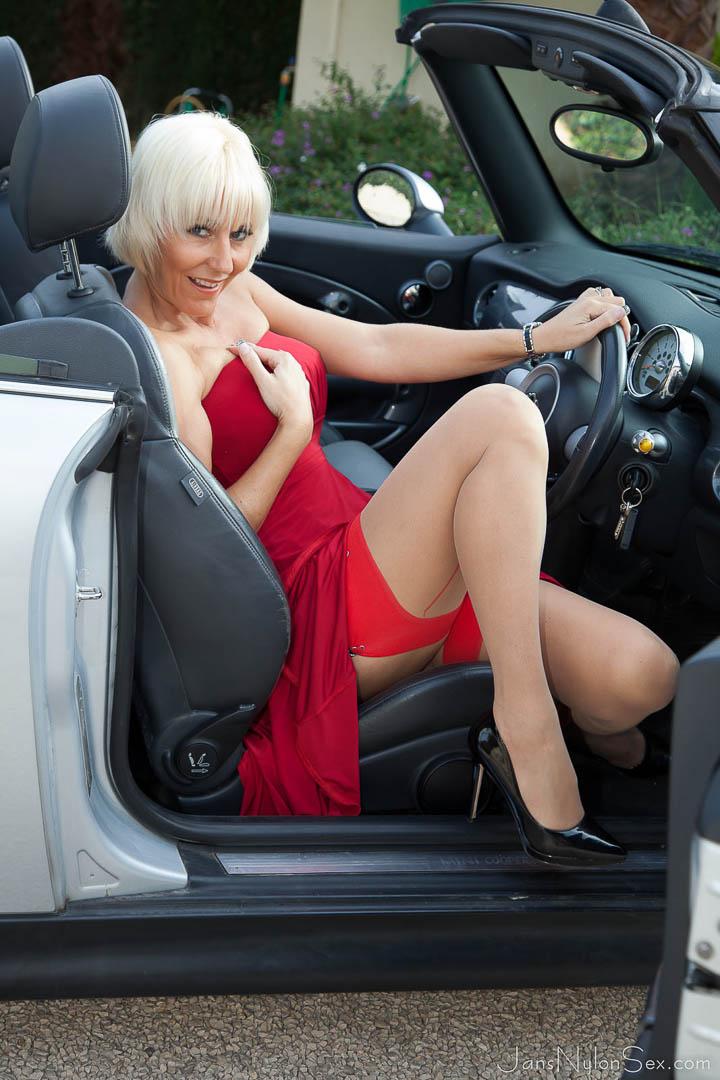 michelle stockings Mature car nylon