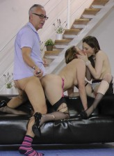 Married porn couple Jim and Lara Latex having a 3some with young Tina Kay in fully-fashioned nylons