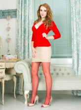 Fiery Alexa Red gets to upskirt tease and bends down in her smashing red crotchless pantyhose