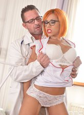 Redheaded French nurse Rose Valerie gets spit-roasted and DPed in her sexy robe, undies and heels
