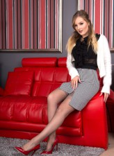 Yasmin Grayce wears her smart office outfit with vintage red full-back panties and grey FF stockings