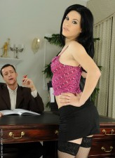 Seductive office girl gives head and spreads her stockinged legs