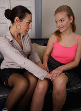 Milf Caterina and teen prankster Gretchen go full lesbian in undies and nylons