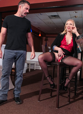 Bored hottie Bailey Brooke parts her stockinged legs for a quickie at the bar