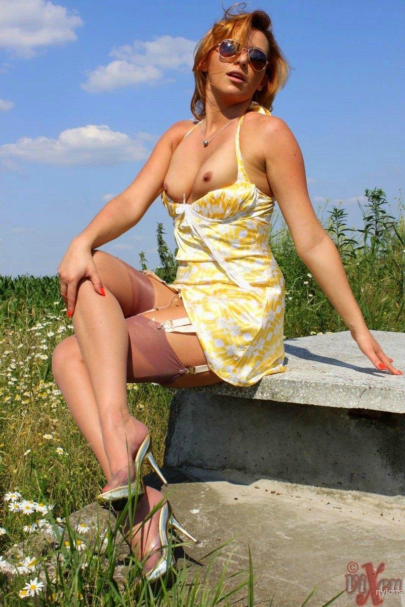 Sundress no panties high heels