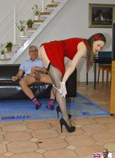 Sassy lass in a red dress with white lacy gloves and black FF stockings rides an old gent