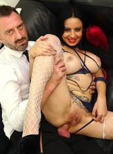 Damaris X loves raw anal abuse clad in her open-cup bra, tiny thong and fishnets