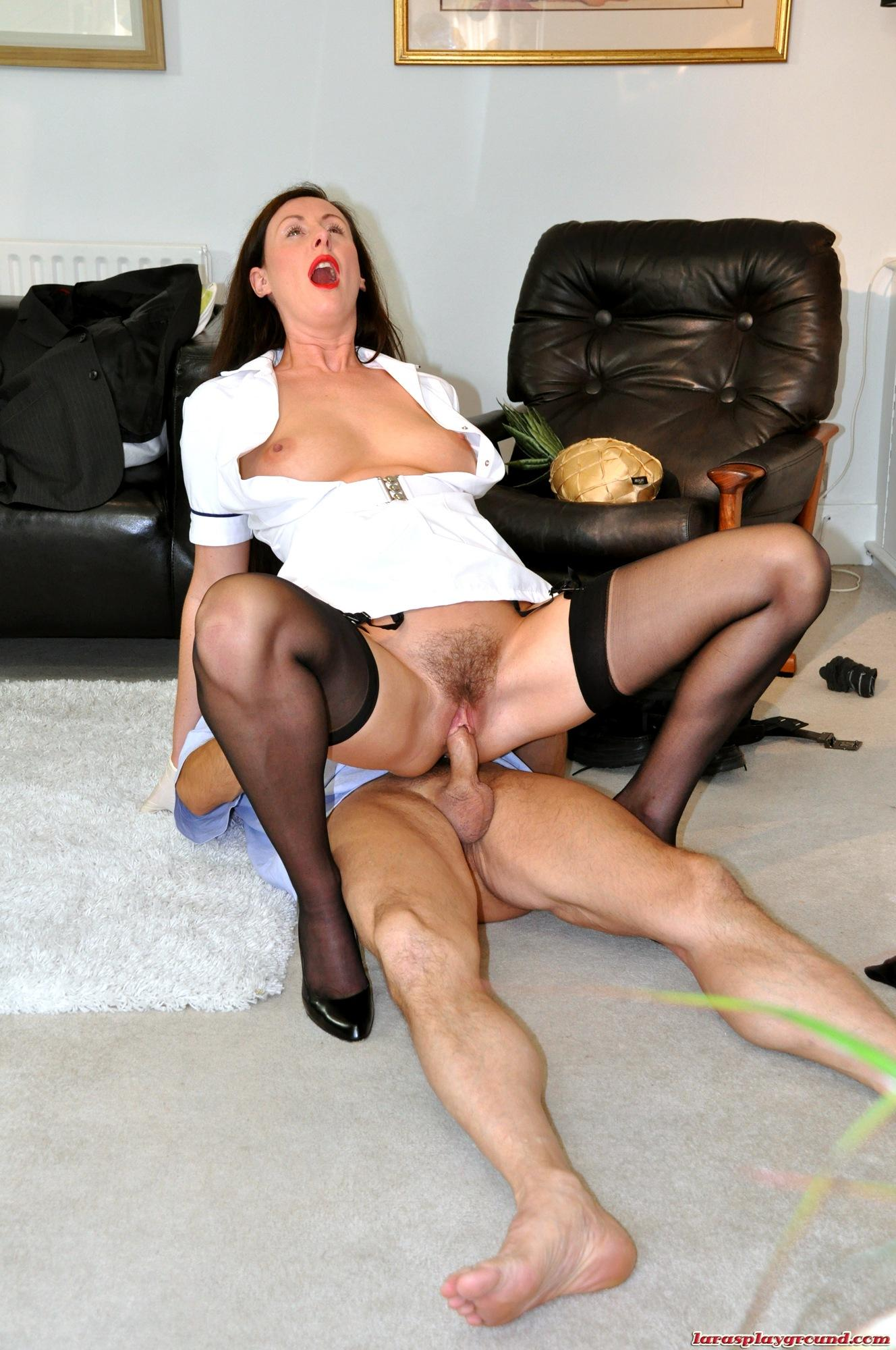 Secretary In Stockings And Leather Skirt Gets Ass Fuck