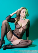 Tantalizing blonde Sandra Sanchez models her luscious black fishnet bodysuit