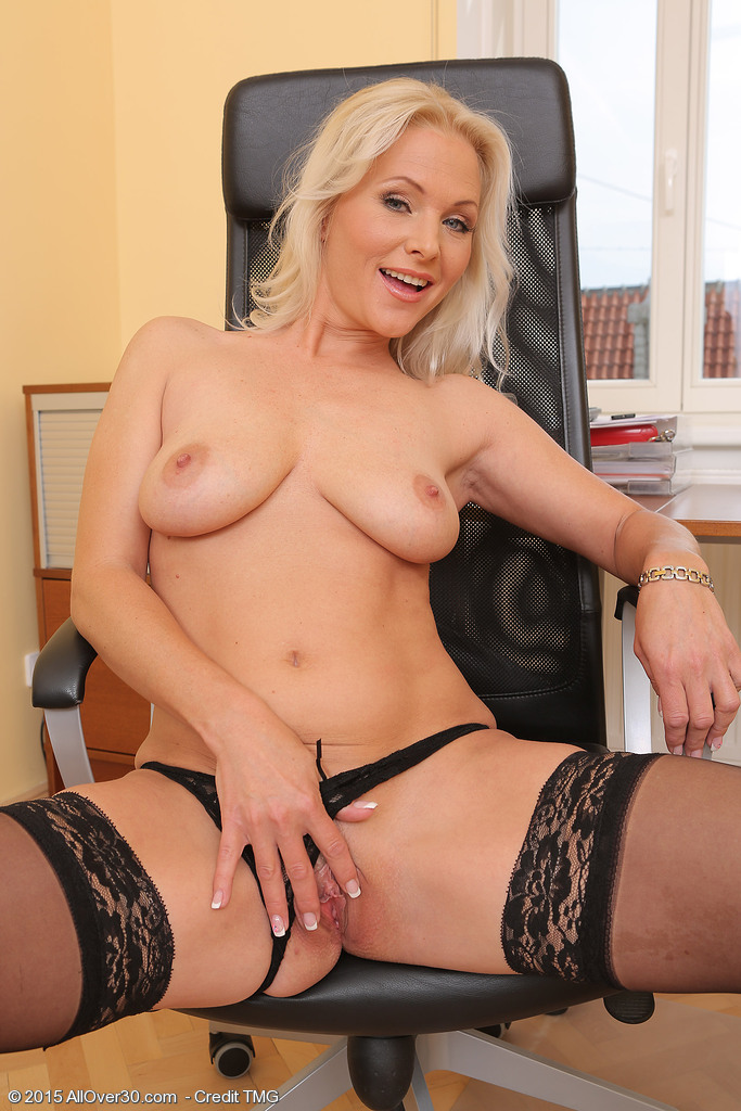 Blonde office sex old