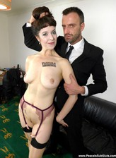 Arrogant Cassie de la Rage gets totally brutalized orally and anally in her fine seamed stockings