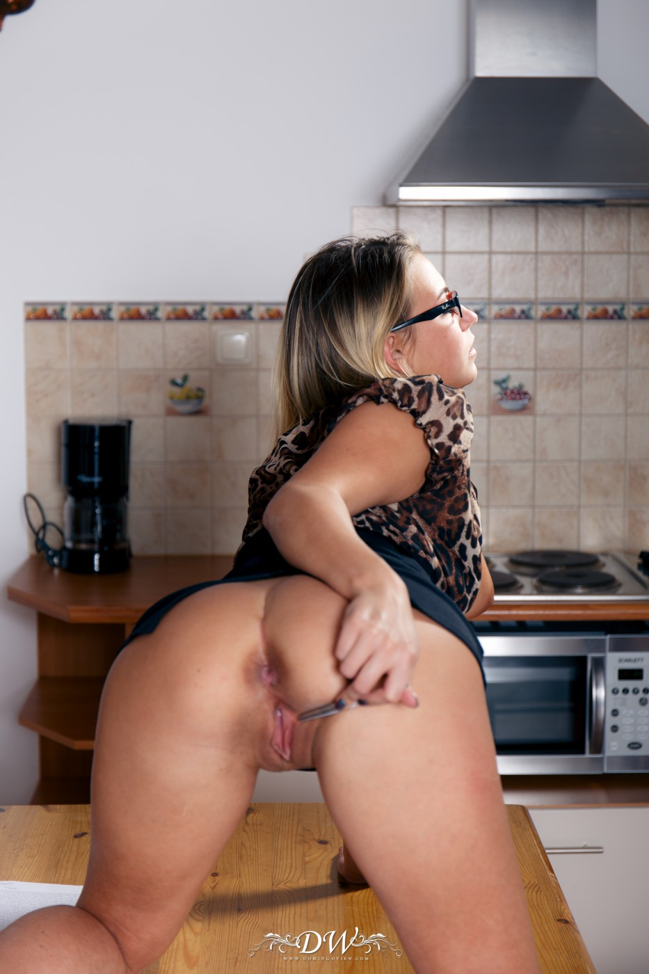 busty secretary angelica heet toys her pussy with specs