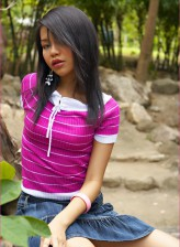 Asian cutie Chelsea Yung flashes her pink undies and juicy girlish goodies outdoors